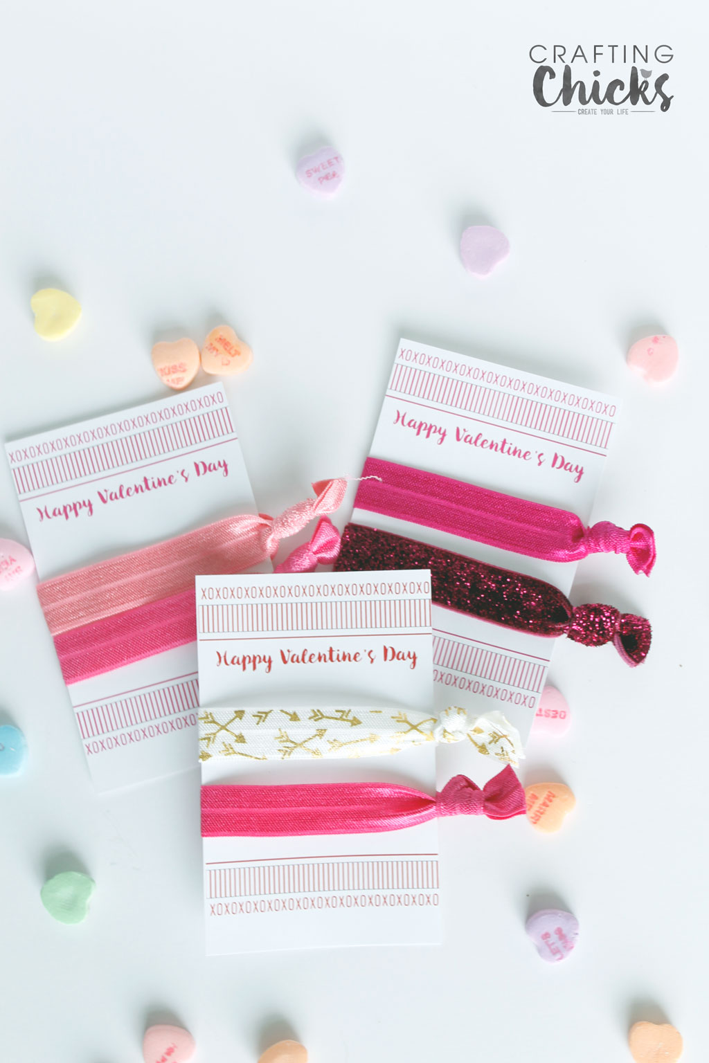 Valentine Elastic Hair Tie Cards are a homemade gift friends will for sure use. Just use this printable and make the hair ties and you're all set.