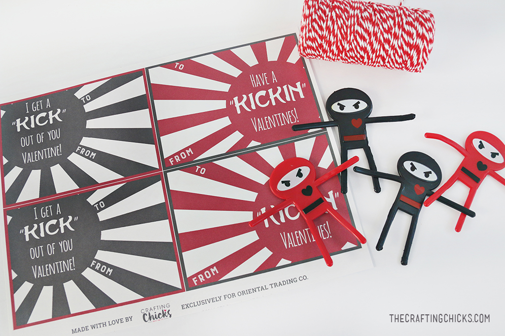 Ninja Valentine Printable - Non candy class Valentine - Just print, cut and attach the bendable ninja figurines with red and white baker's twine.