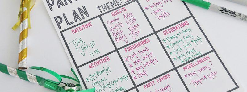 Party Plan Printable
