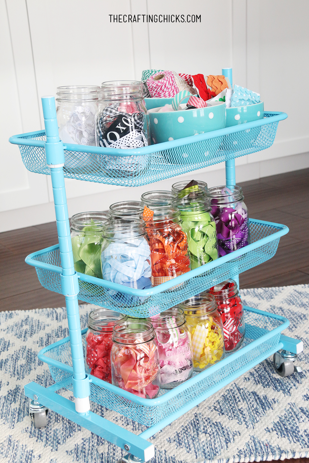 Ribbon Organization Cart - This ribbon organization cart was so simple to put together!