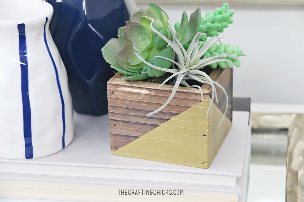 DIY Rustic Gold Succulent Planters