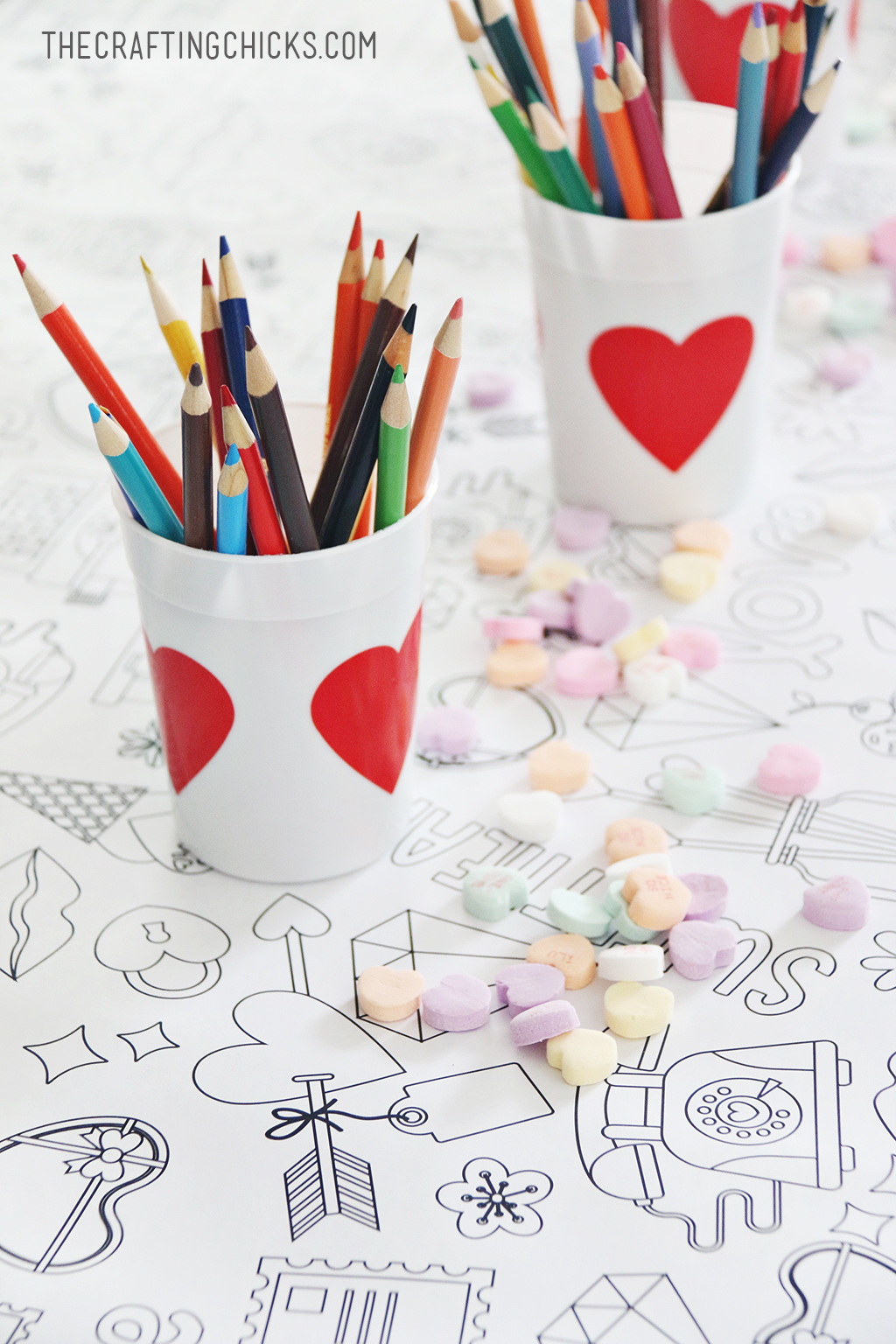 Valentine's Day Coloring Tablecloth