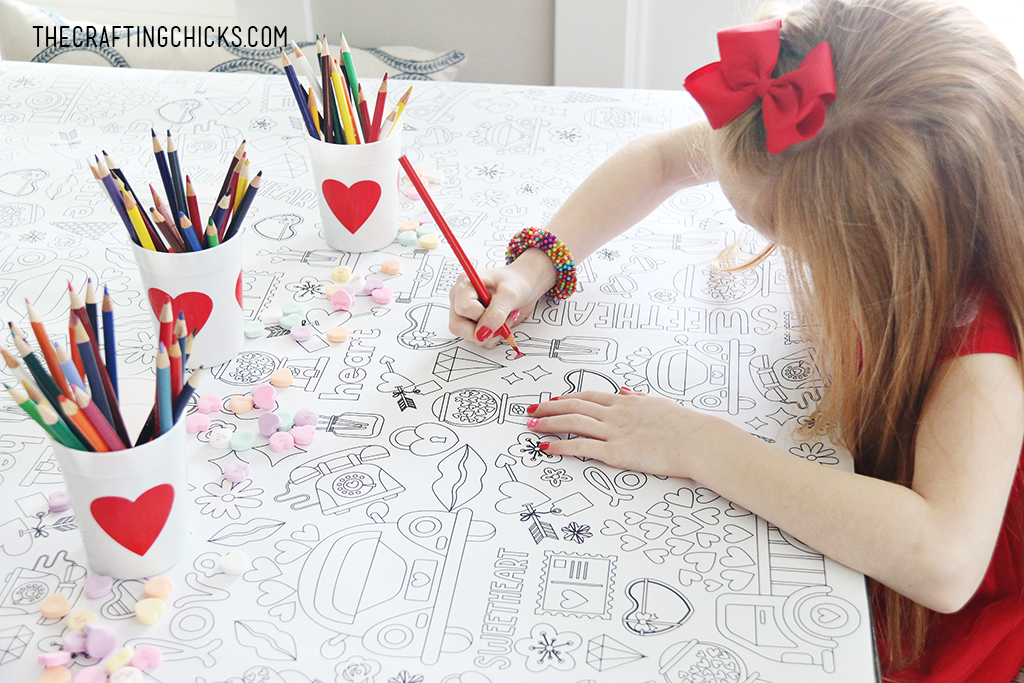 Take your Valentine Party to the next level with our adorable Valentine Coloring Tablecloth. Fun for kids and adults.