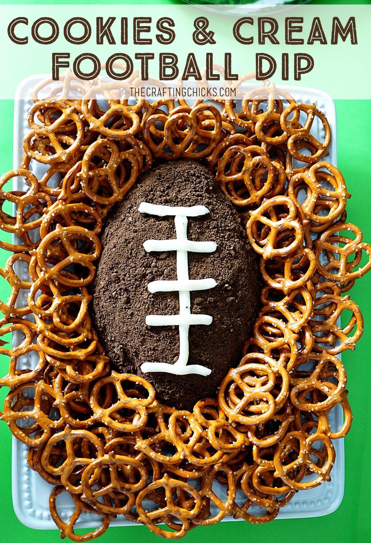 Cookies and Cream Football Dip Superbowl