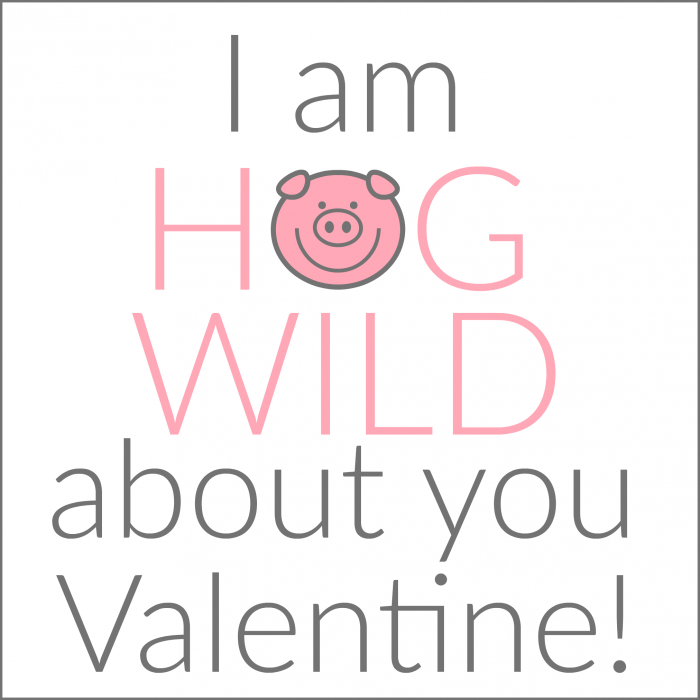 Free printable tags for I Am Hog Wild About You Valentines at thecraftingchicks.com