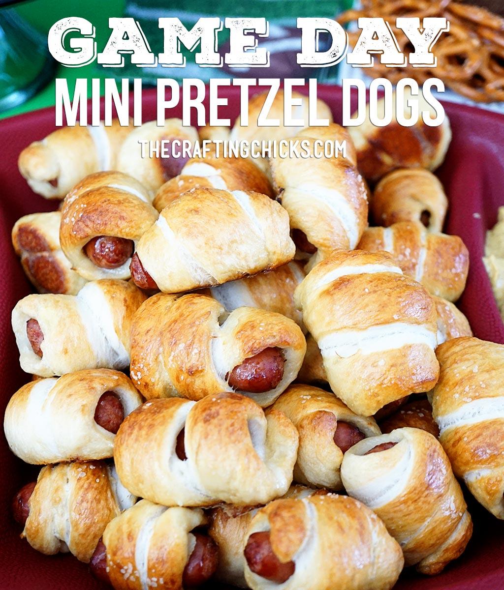 Game Day Mini Pretzel Dogs is a favorite Superbowl recipe!