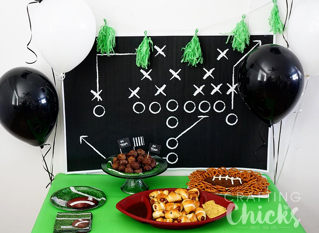Game Day Table with a free football play backdrop download for the Superbowl.