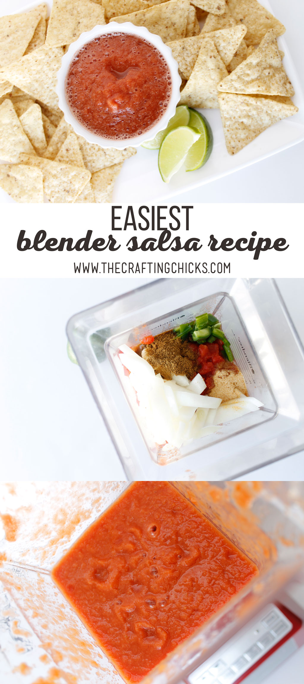 The Easiest Blender Salsa Recipe has become a staple at my house. This salsa can be made as chunky or puree as you want when you use a blender.