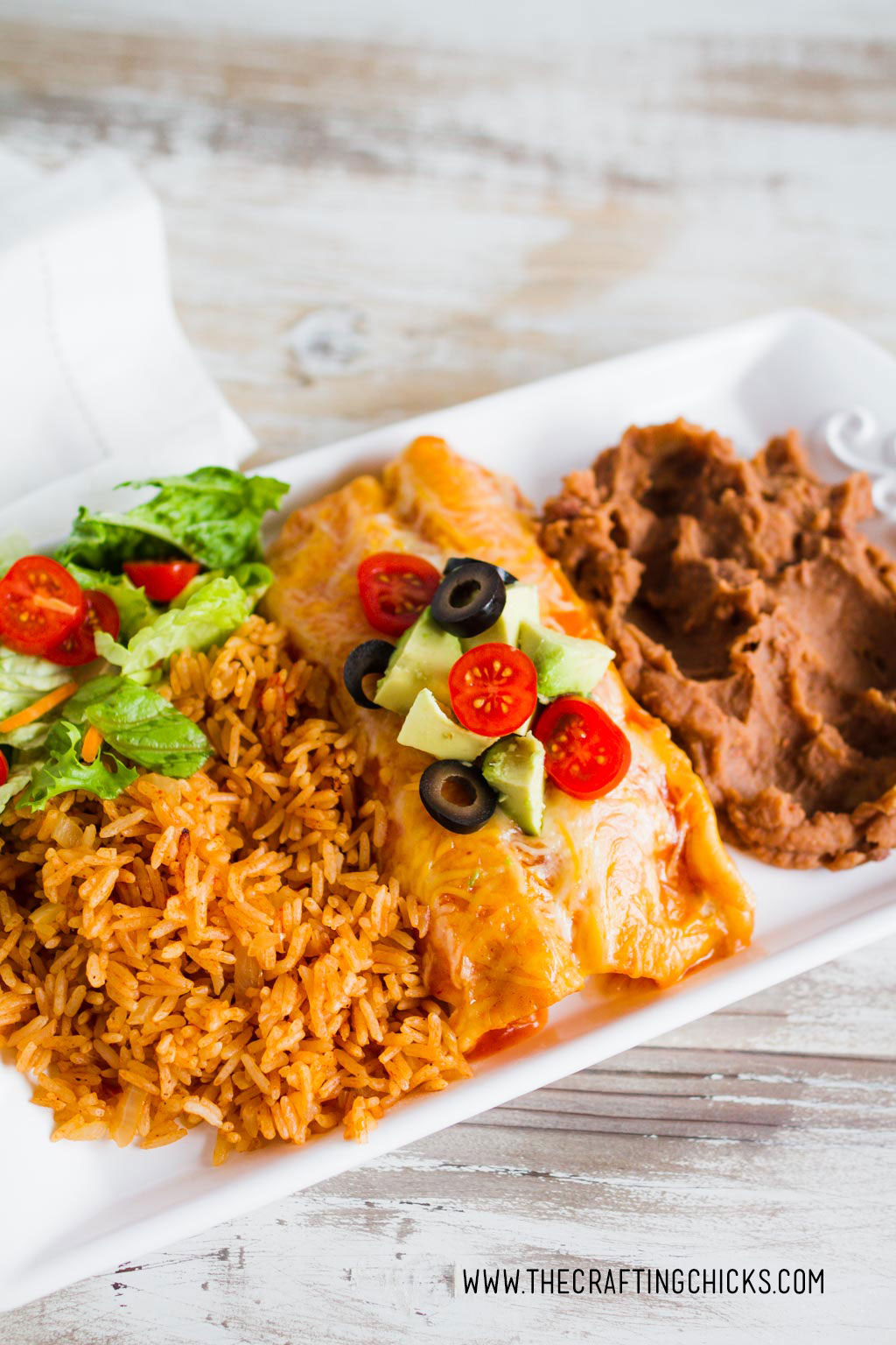 Saw Cooker Salsa Chicken Enchiladas. Serve with Beans salad and rice for a complete meal.