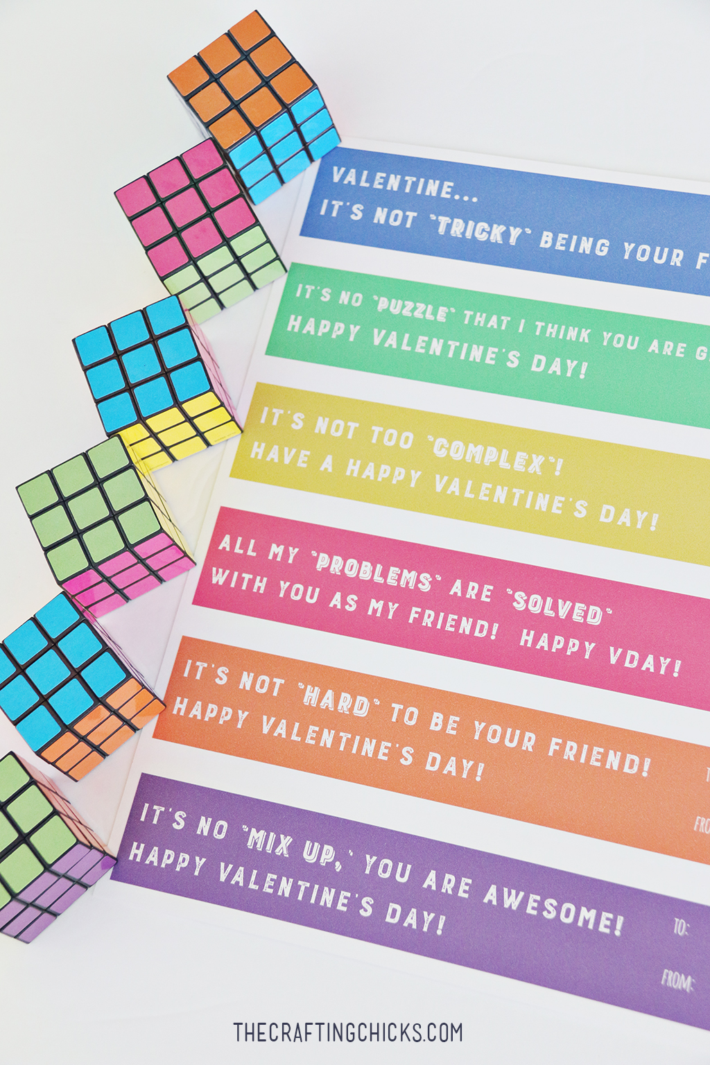 Rubix Cube Valentine Printables - A fun non-candy valentine for kids to share with their classmates!