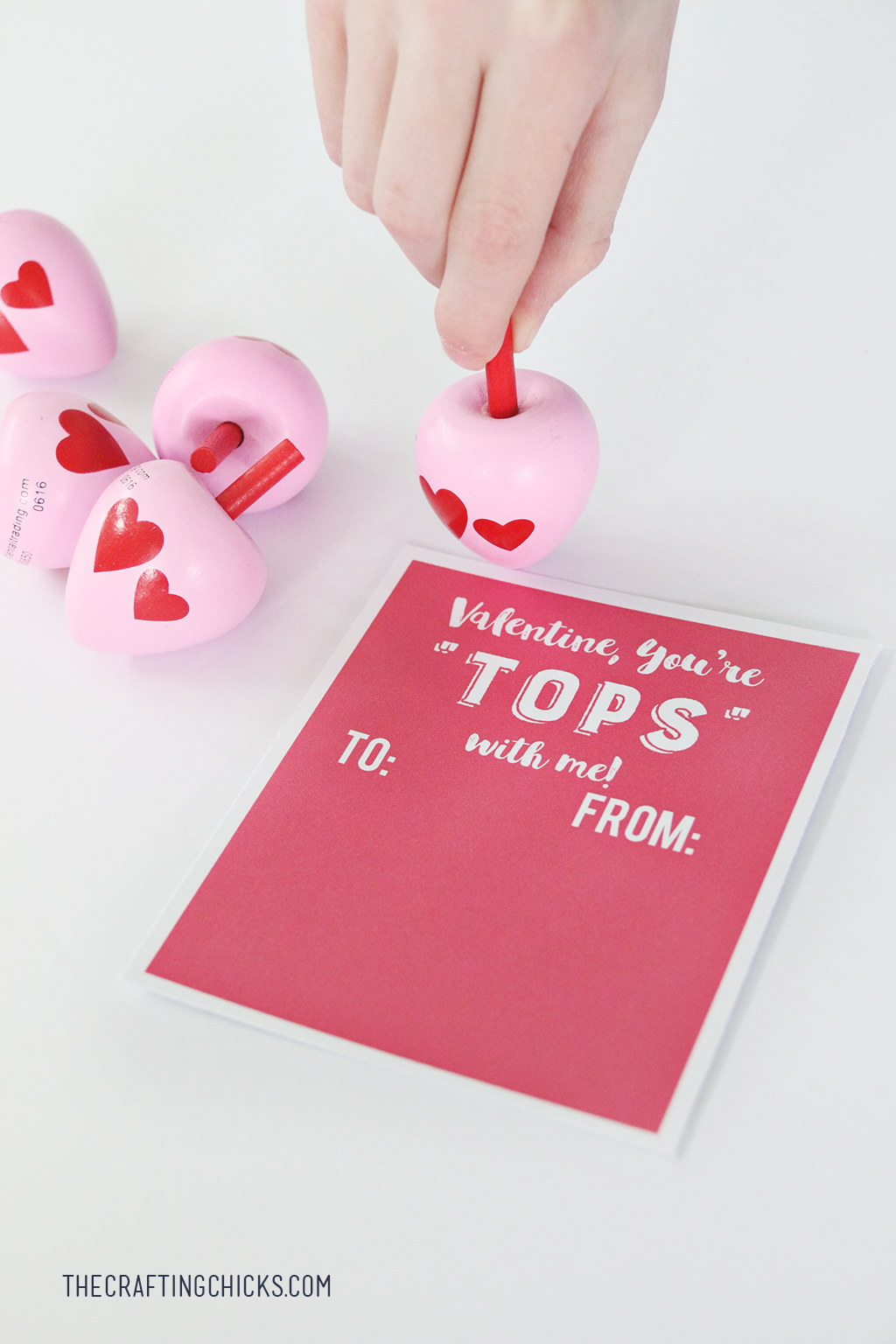Toy Top Valentine Printable - Attach a spinning top for an easy non candy school valentine!