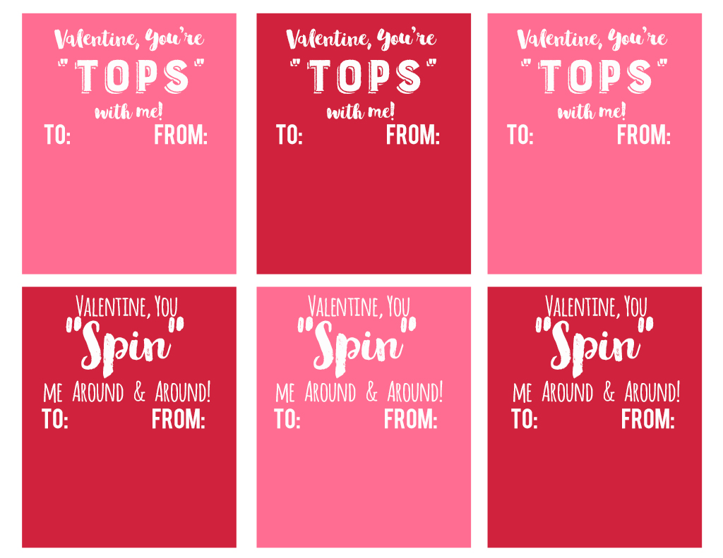 Toy Top Valentine Printable   Attach A Spinning Top For An Easy Non Candy  School Valentine