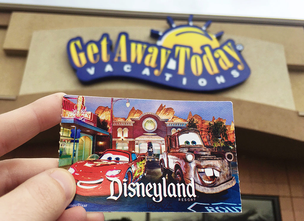 Disneyland tickets in front of Get Away Today building