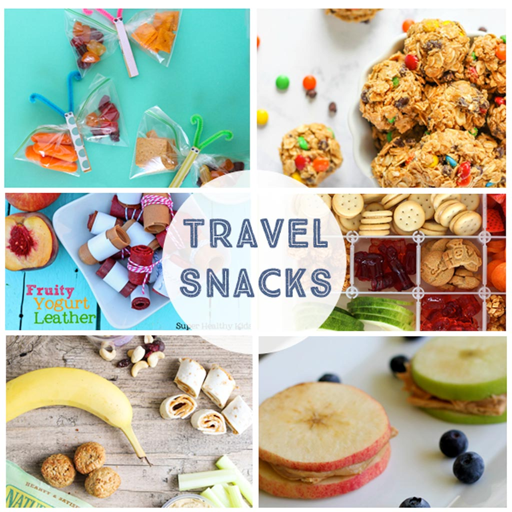Travel Snacks - These simple to-go snacks are perfect for road trips!  Fruit leather, apple sandwiches, healthy snacks and butterfly snack bags!