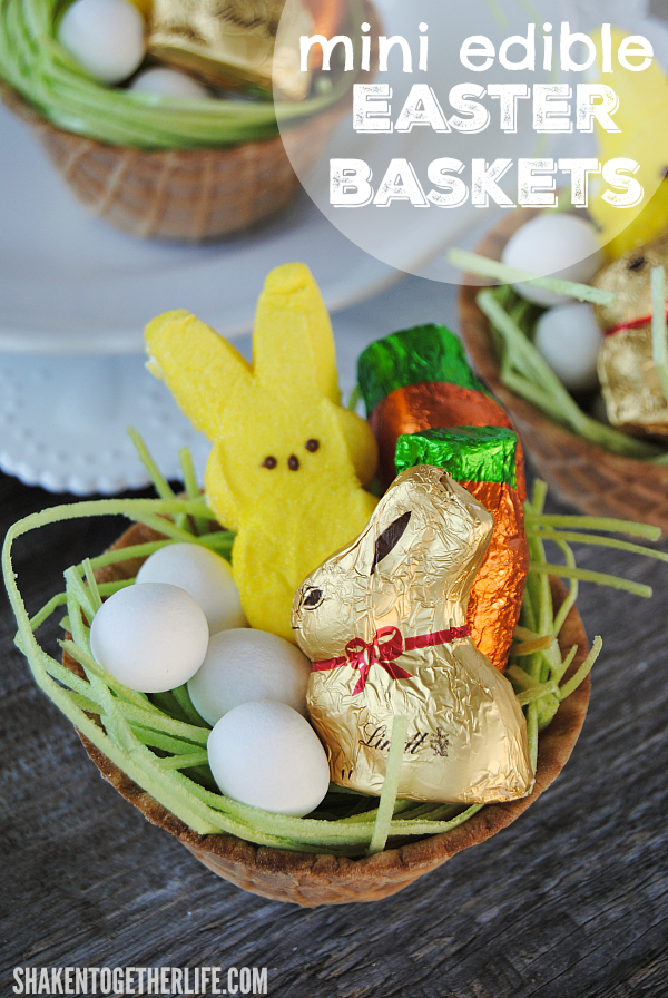 Adorable Mini Edible Easter Baskets from Shaken Together!