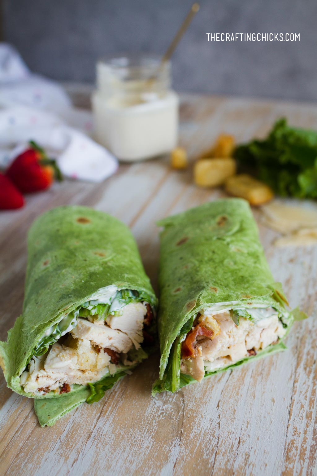 Caesar Salad Chicken Wraps