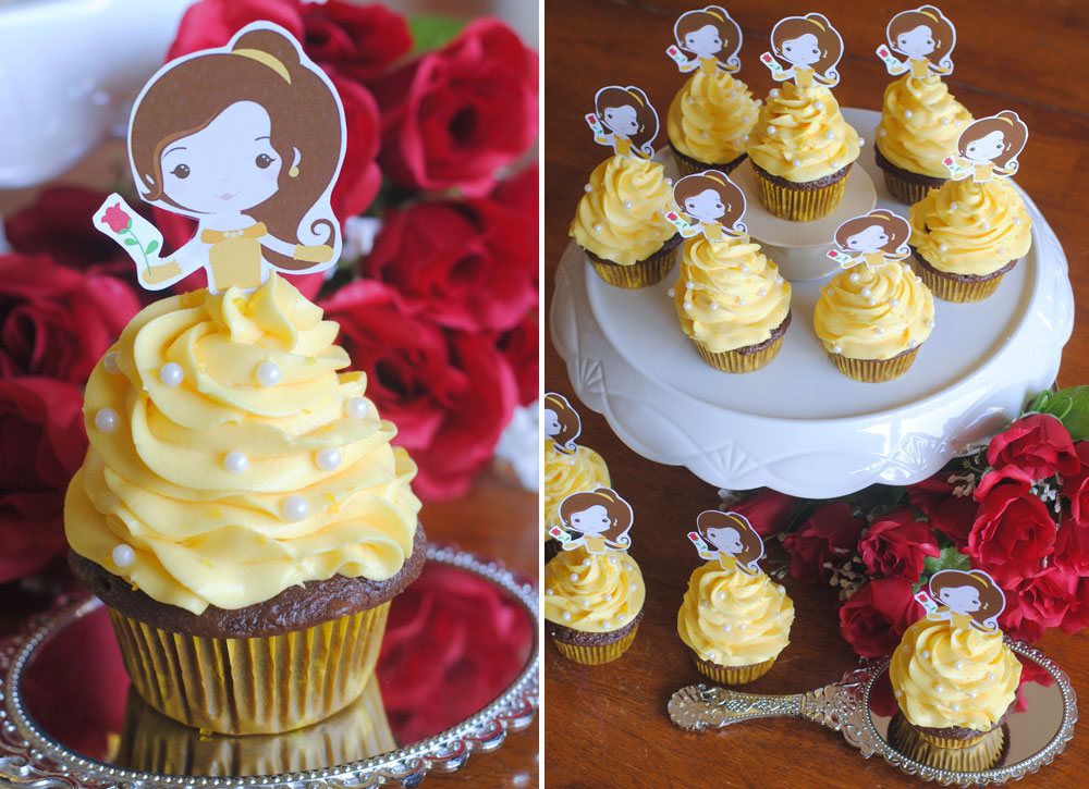 Free Beauty and the Beast Cupcake Topper