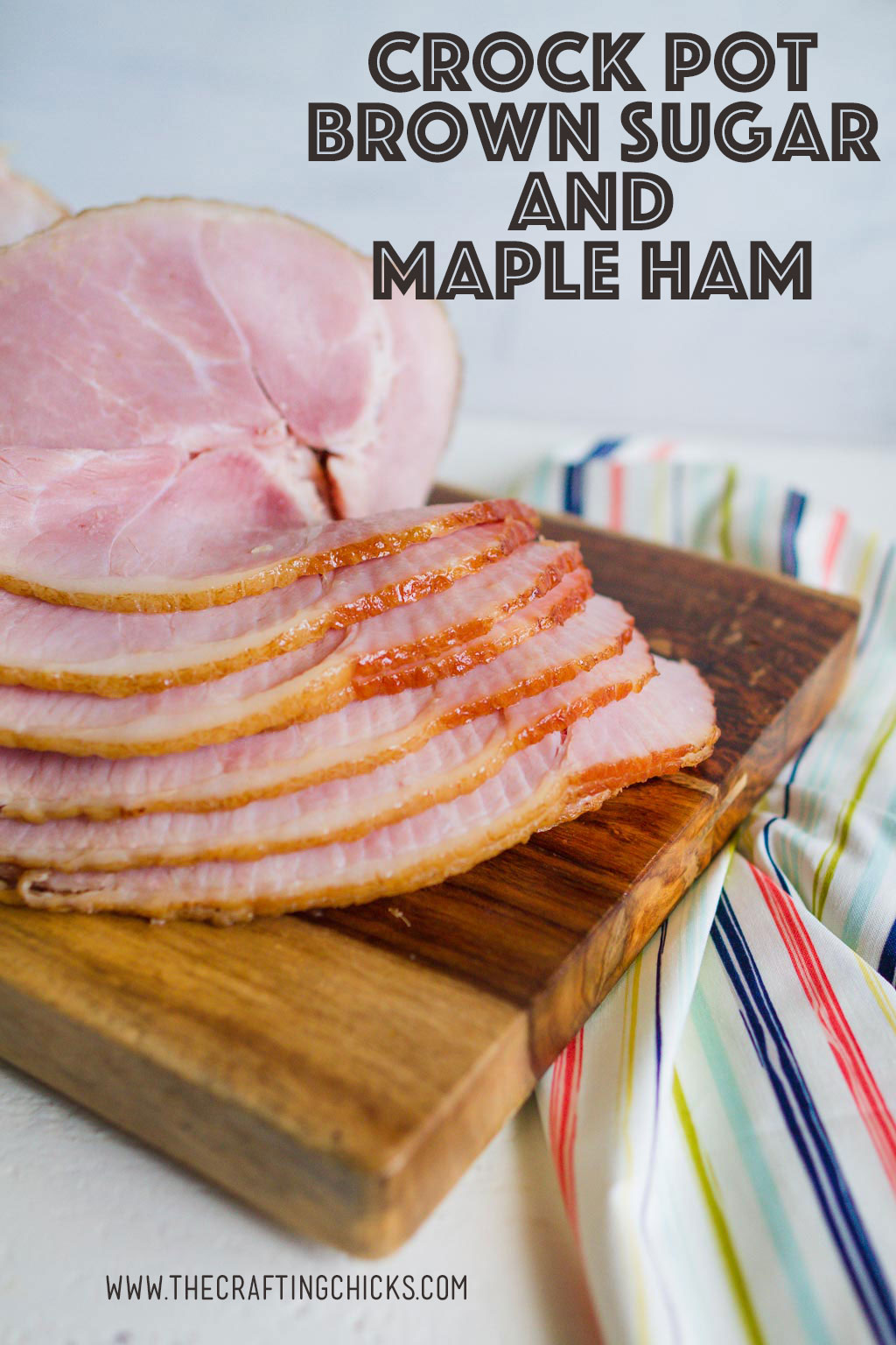 Make sure you save this delicious and easy Crock Pot Brown Sugar and Maple Ham. This recipe will be one that you come back to time and time again.