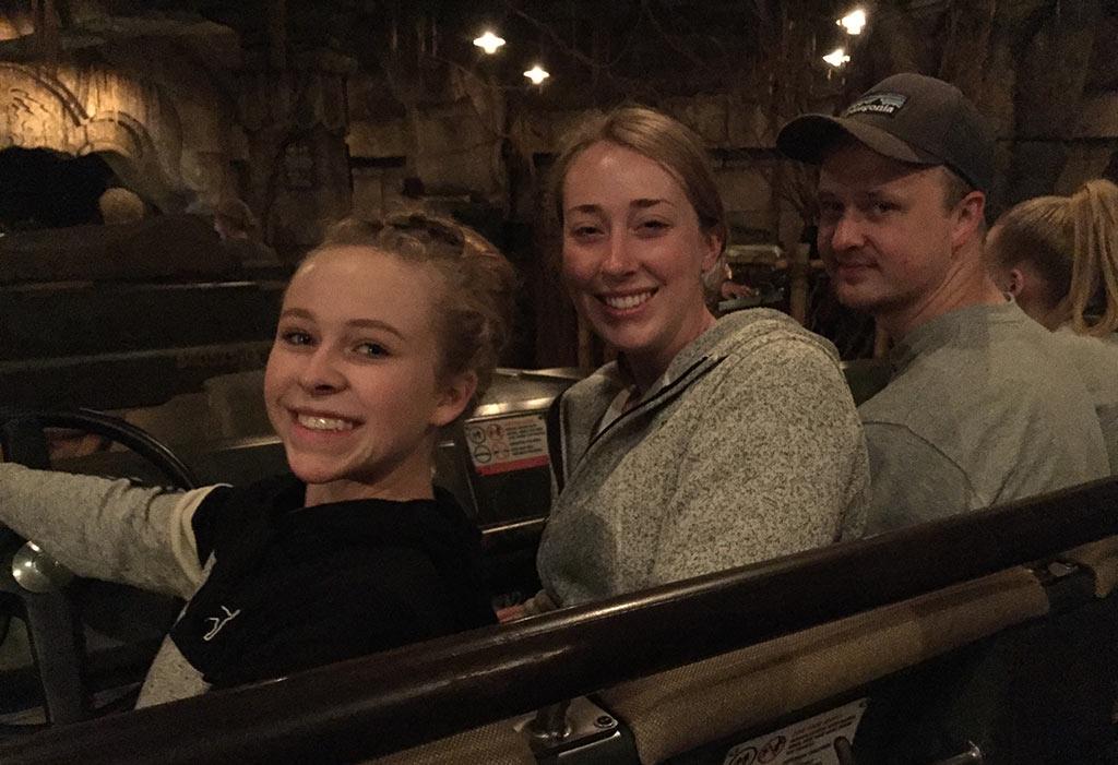 Teenagers at Disneyland on Indiana Jones