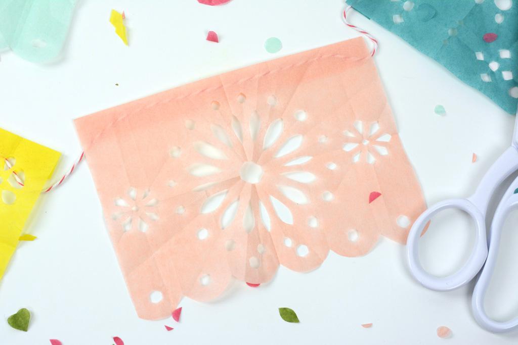 papel picado fiesta banner peach