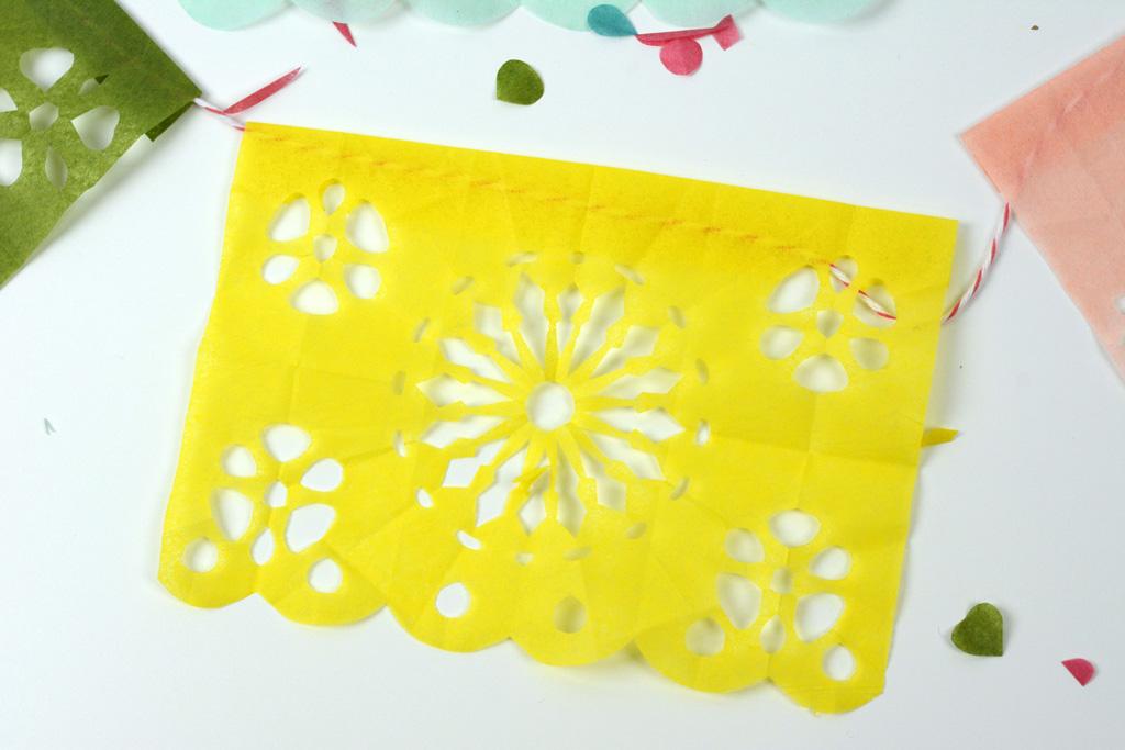 papel picado fiesta banner yellow