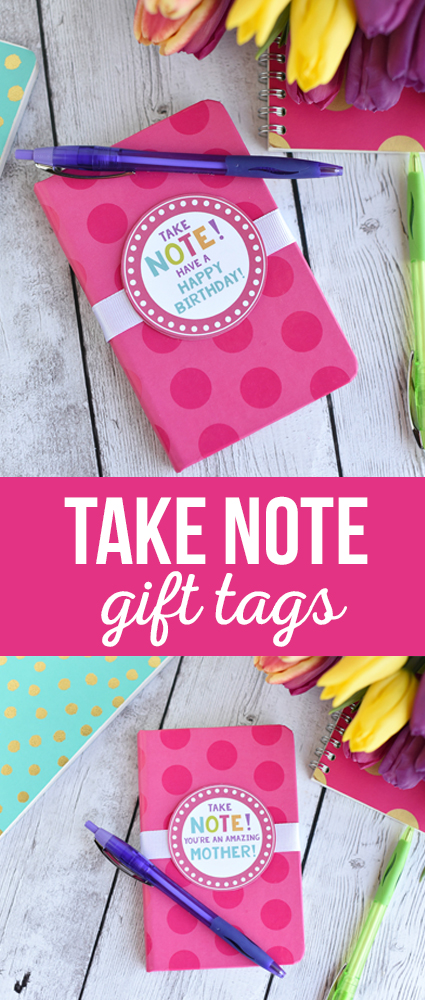 Take Note Gift Tag - What a sweet and simple gift-grab a cute notebook and add a cute tag and you've got a great gift for mom, teacher or birthdays!