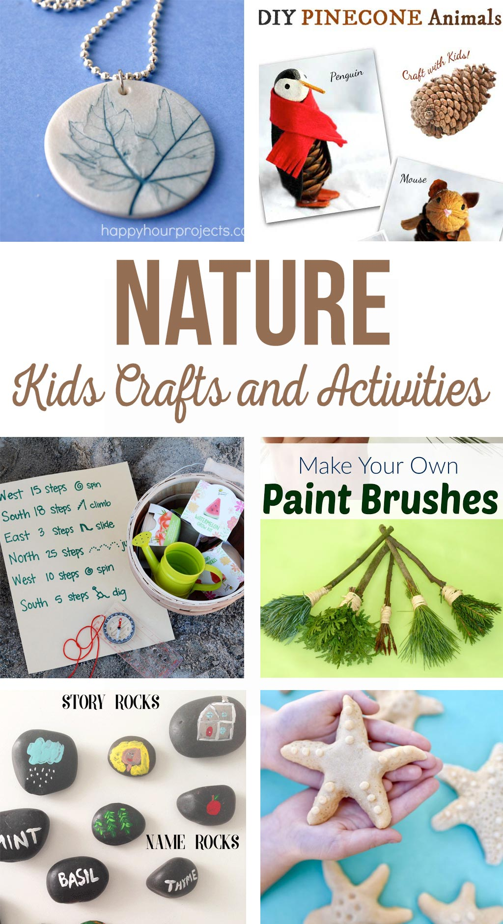 Nature Kids Crafts and Activities - DIY Butterfly House, painted rocks, rainforest in a jar, salt dough starfish, treasure hunt, hummingbird feeder, pinecone animals and explorer journal