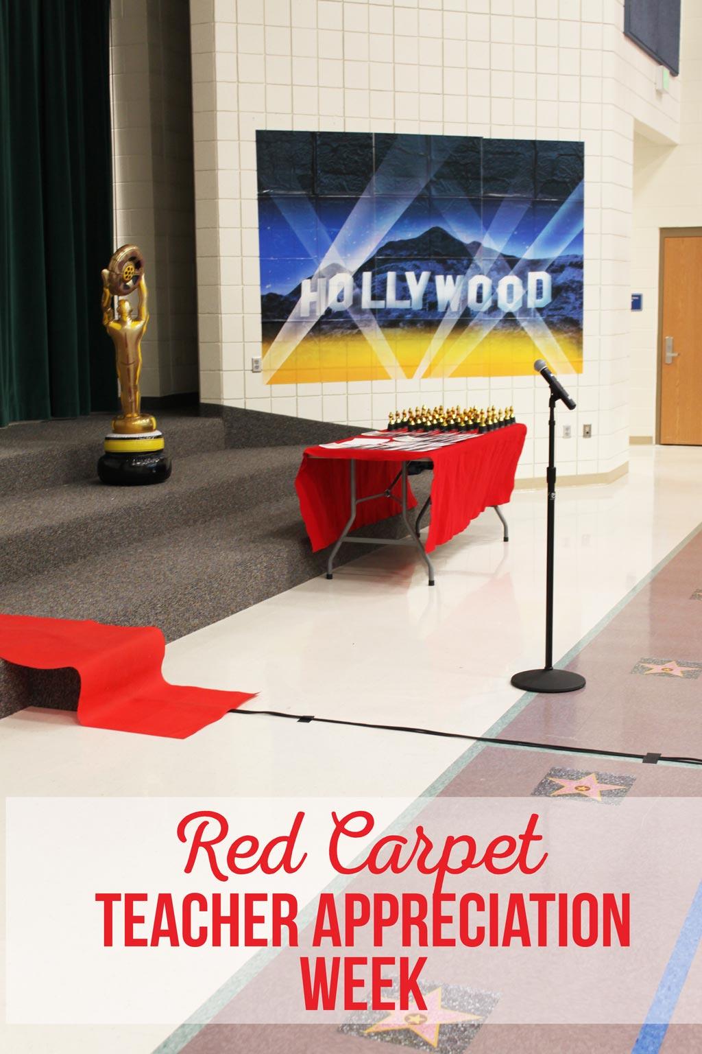 Red Carpet Teacher Appreciation Week   PTA Assembly   Decor   School   Teacher Gifts