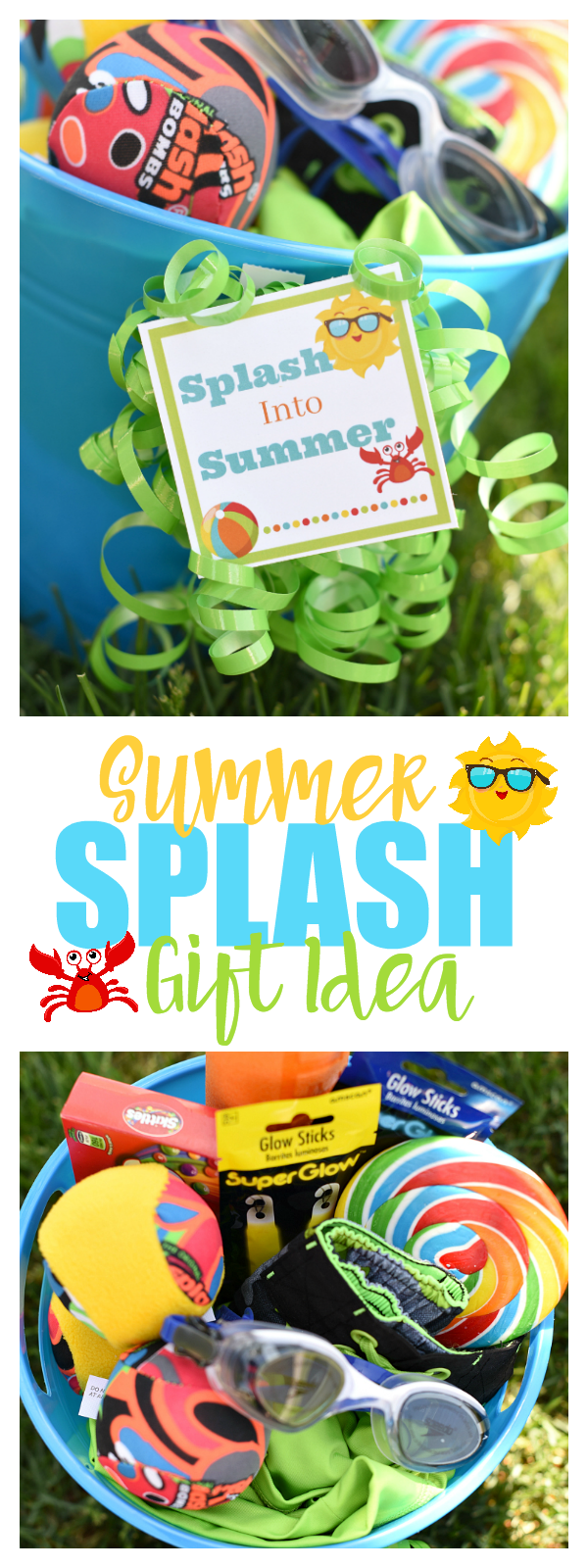 How fun is this Splash into Summer Gift Idea. Love this for the last day of school or a summer birthday gift.
