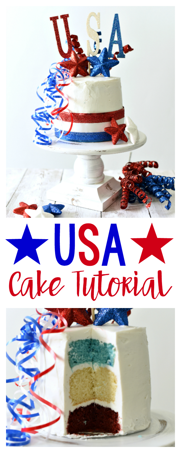 4th of July Dessert Ideas - Make this fun cake for all the patriotic holidays! Red, white and blue inside too!
