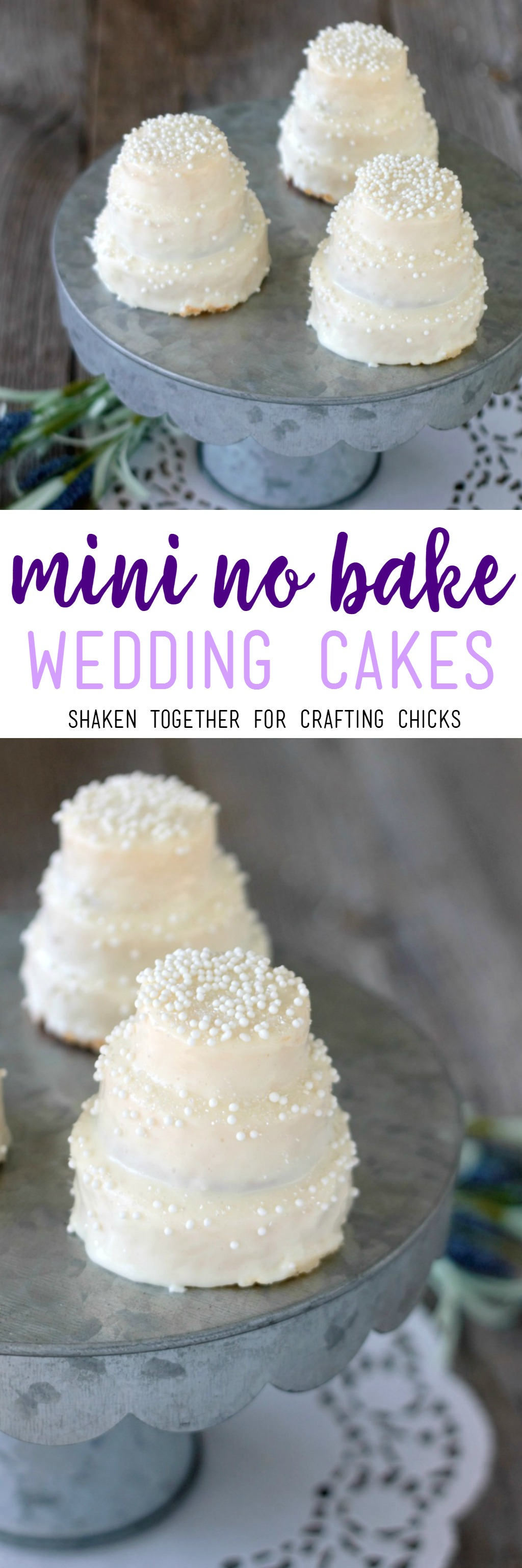 Mini No Bake Wedding Cakes - these sweet teeny tiered treats are perfect for a bridal shower, rehearsal dinner or wedding favor!