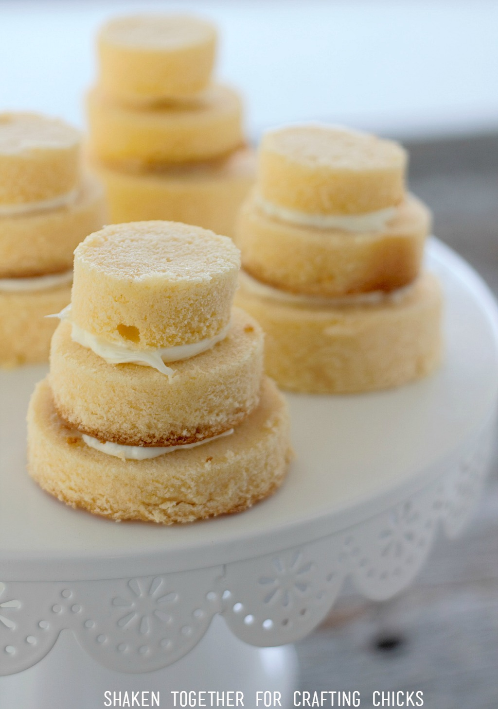Tiers of pound cake are held together with vanilla frosting - these Mini No Bake Wedding Cakes are so easy!