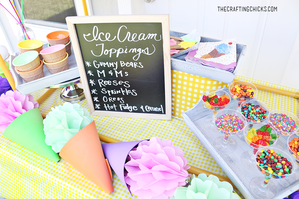 Ice Cream Party Topping Bar for an Ice Cream Party!