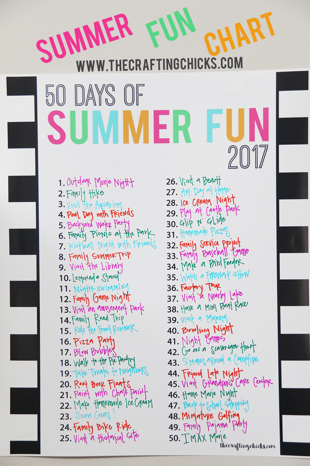 foto de Summer FUN Chart 2017 The Crafting Chicks