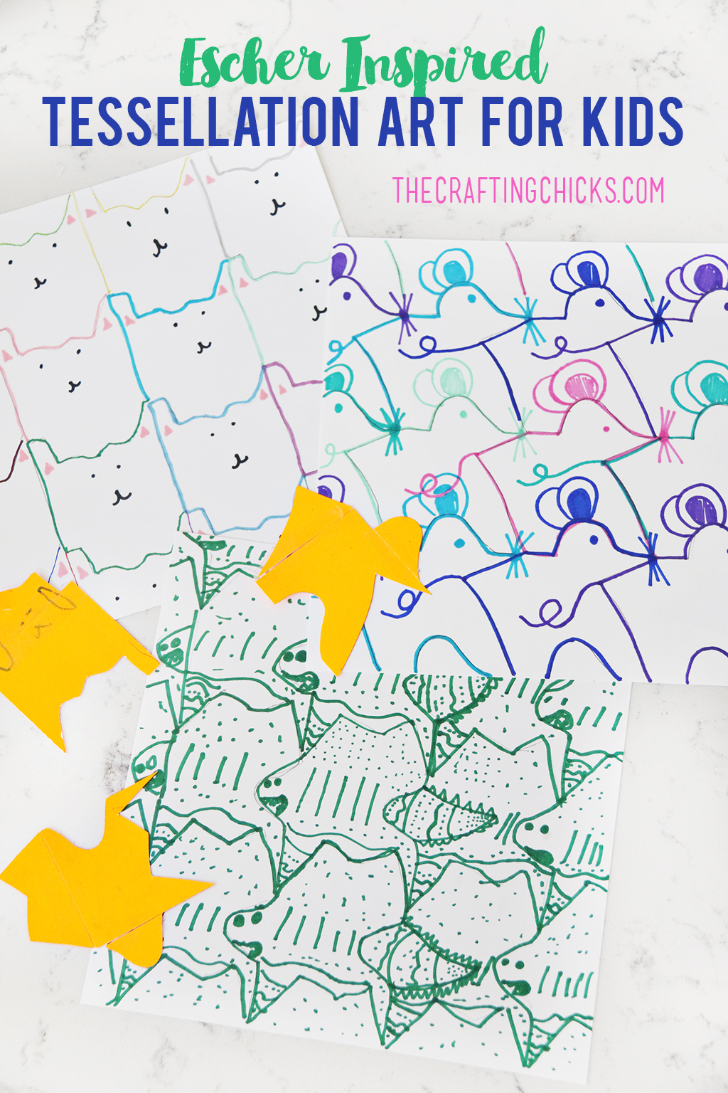 This Escher Inspired Tessellation Art for Kids will keep kids busy for hours! Tessellation art is the perfect mix of art and math, and is inspired by Escher, an amazing artist!