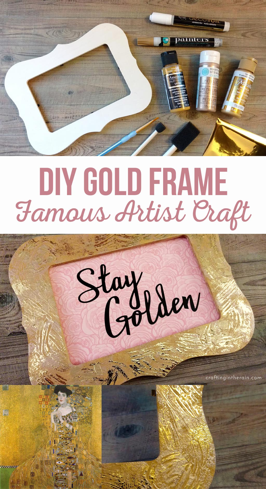 DIY Gold Frame | Famous Artist Craft | This easy to make frame will add the perfect touch to your home decor.