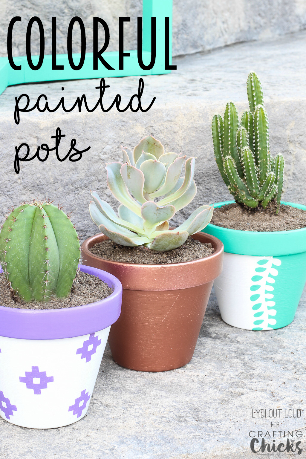 Vibrant Summer Pots for Planting | Add a pop of color to your garden with just a few inexpensive clay pots and some outdoor paint!