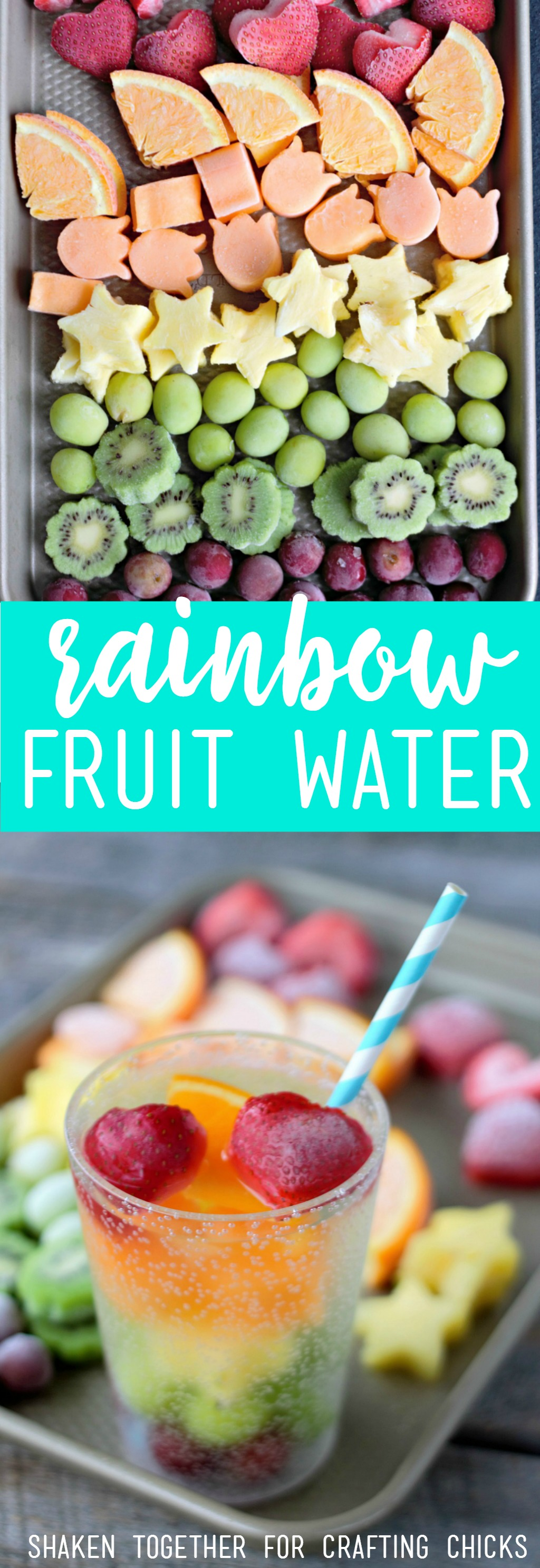 Refreshing Rainbow Fruit Water with Frozen Fruit is a healthy and delicious way to stay hydrated all Summer long! As the fruit thaws, it flavors the water and provides a snack to nibble on!
