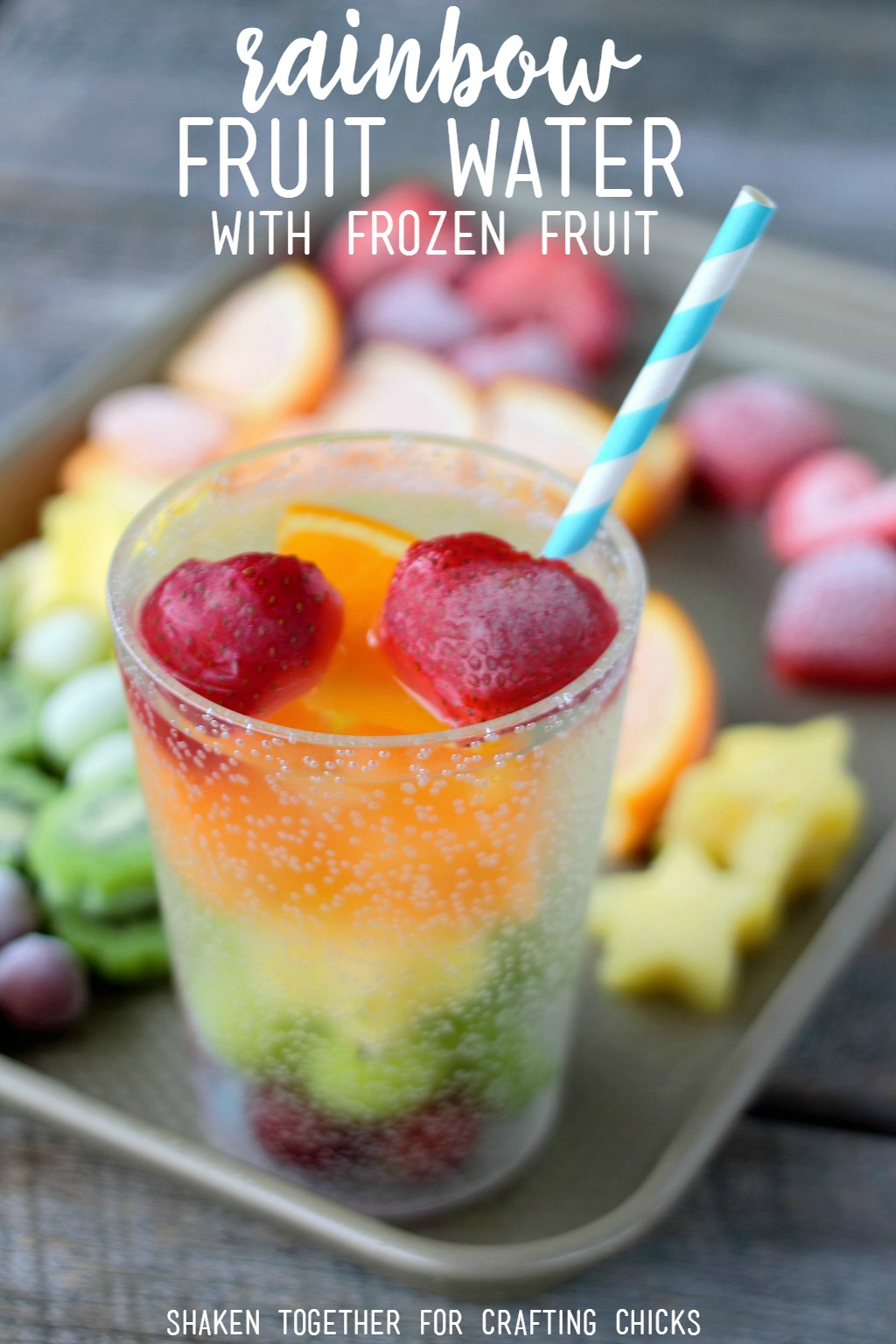 Keep kids hydrated with refreshing Rainbow Fruit Water with Frozen Fruit!