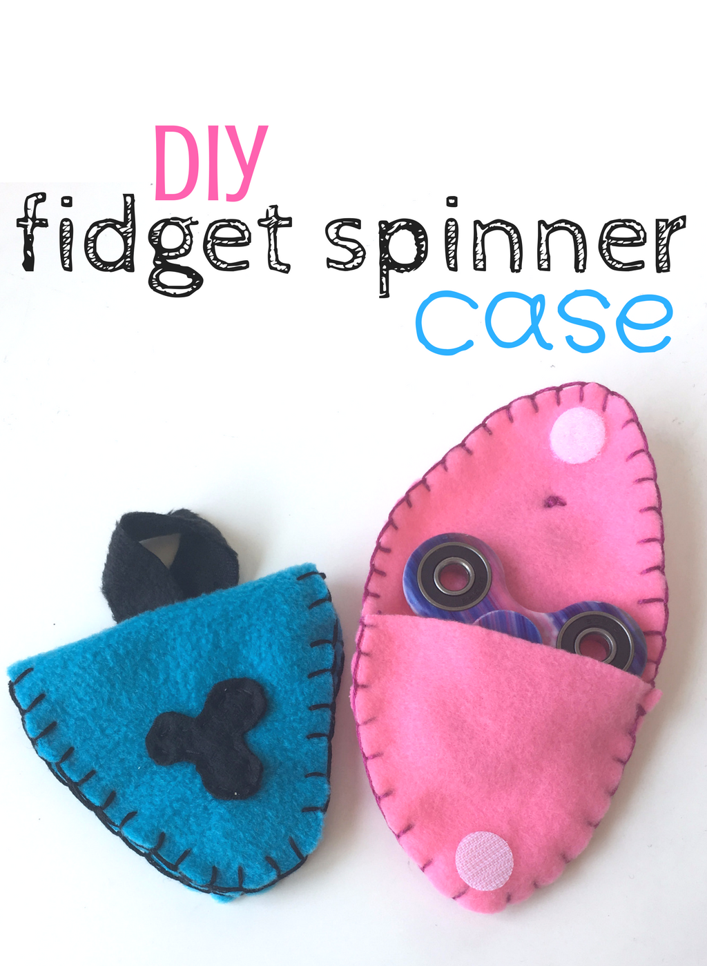 A blue and Pink felt case sewn together to make a Fidget spinner cases