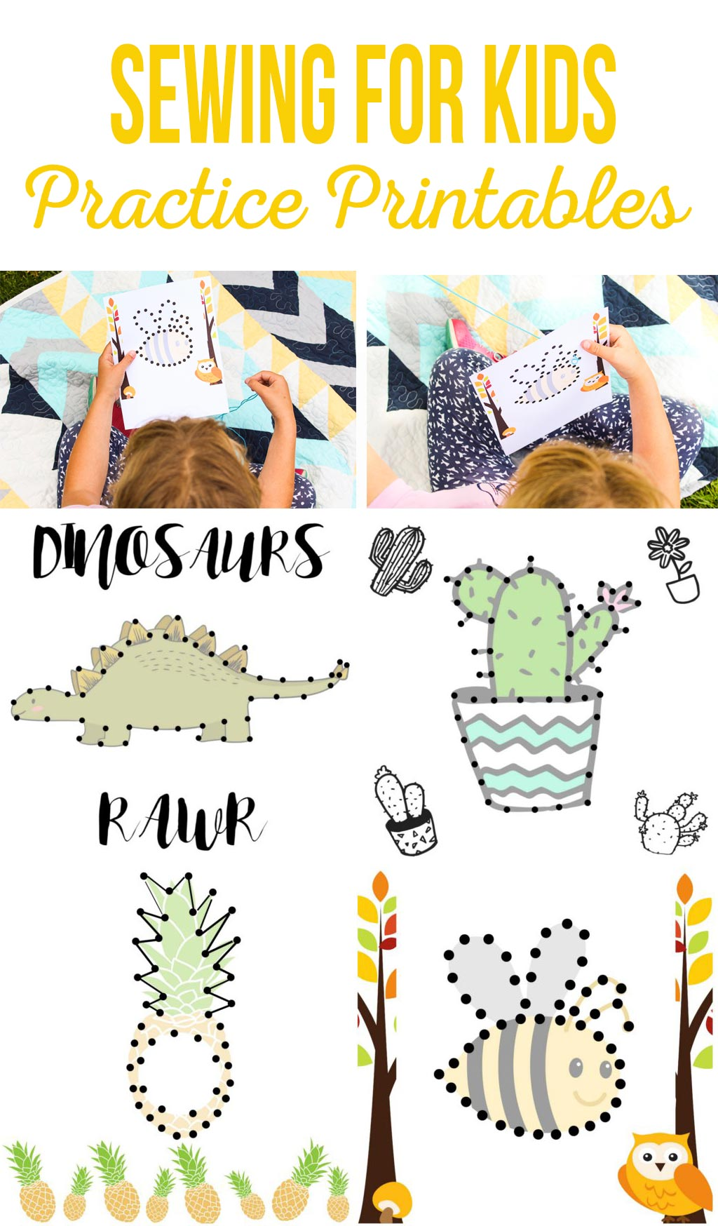 Sewing for Kids Practice Printables | A fun, simple kids activity that teaches coordination and sewing skills.