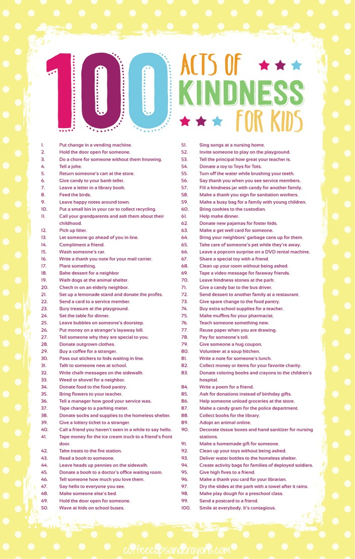 Random Acts of Kindness Activities | Teach your children about service with these simple, fun acts of service.  Printables, ideas and more!