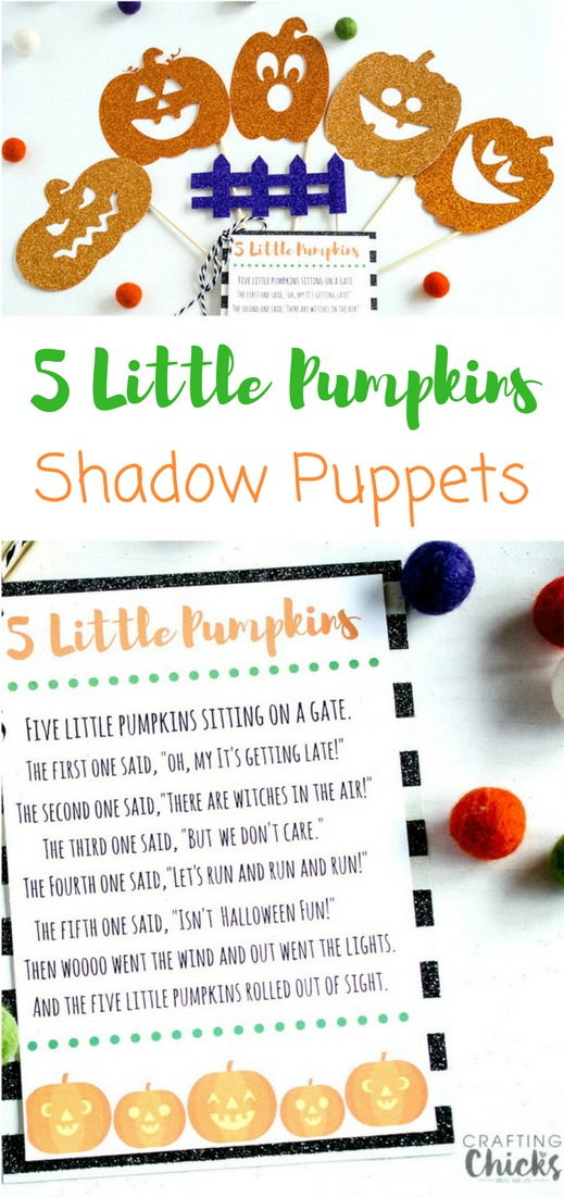 5 Little Pumpkins Shadow Puppets | A fun playtime activity for your kids! They'll have a blast reciting the poem and playing with the puppets and you'll love how easy it is to make them. Be prepared for hours of fun and entertainment!