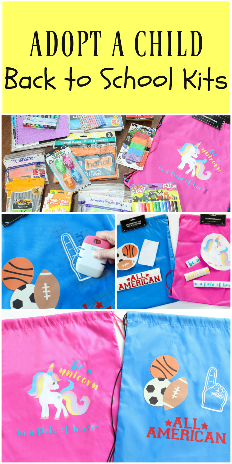 DIY Back to School Kits | Adopt a child this year and donate school supplies with this darling kit! A fun family service project.