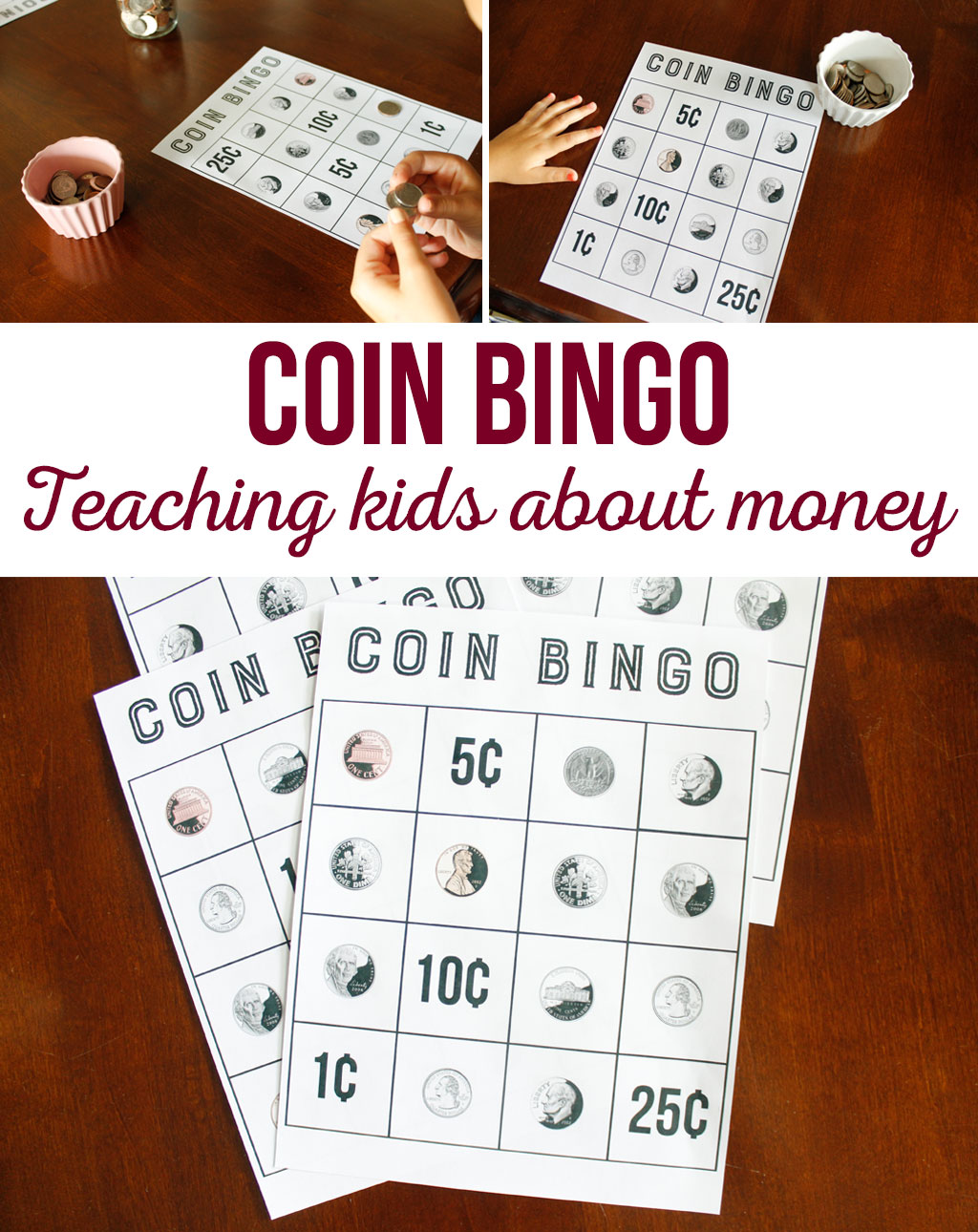 Coin Bingo is a great way for kids to learn what each coin is, and what it is worth. This is a great learning tool in a game form. Kids will love it.