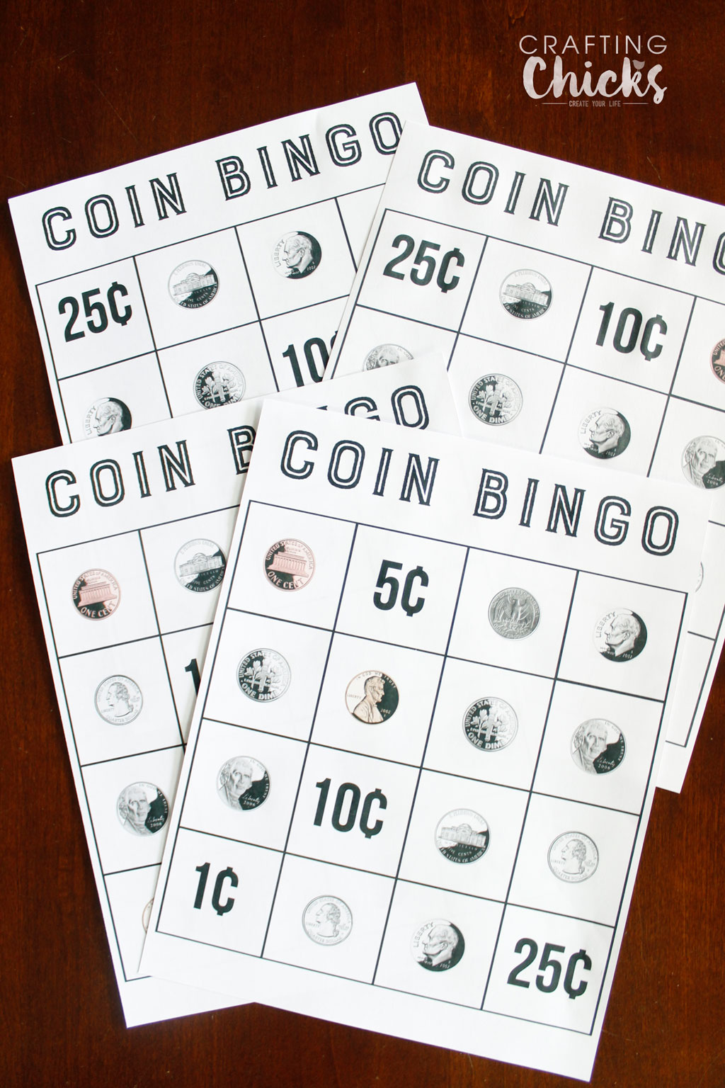 picture about Printable Money Games named Coin Bingo Cost-free Printable - The Producing Chicks