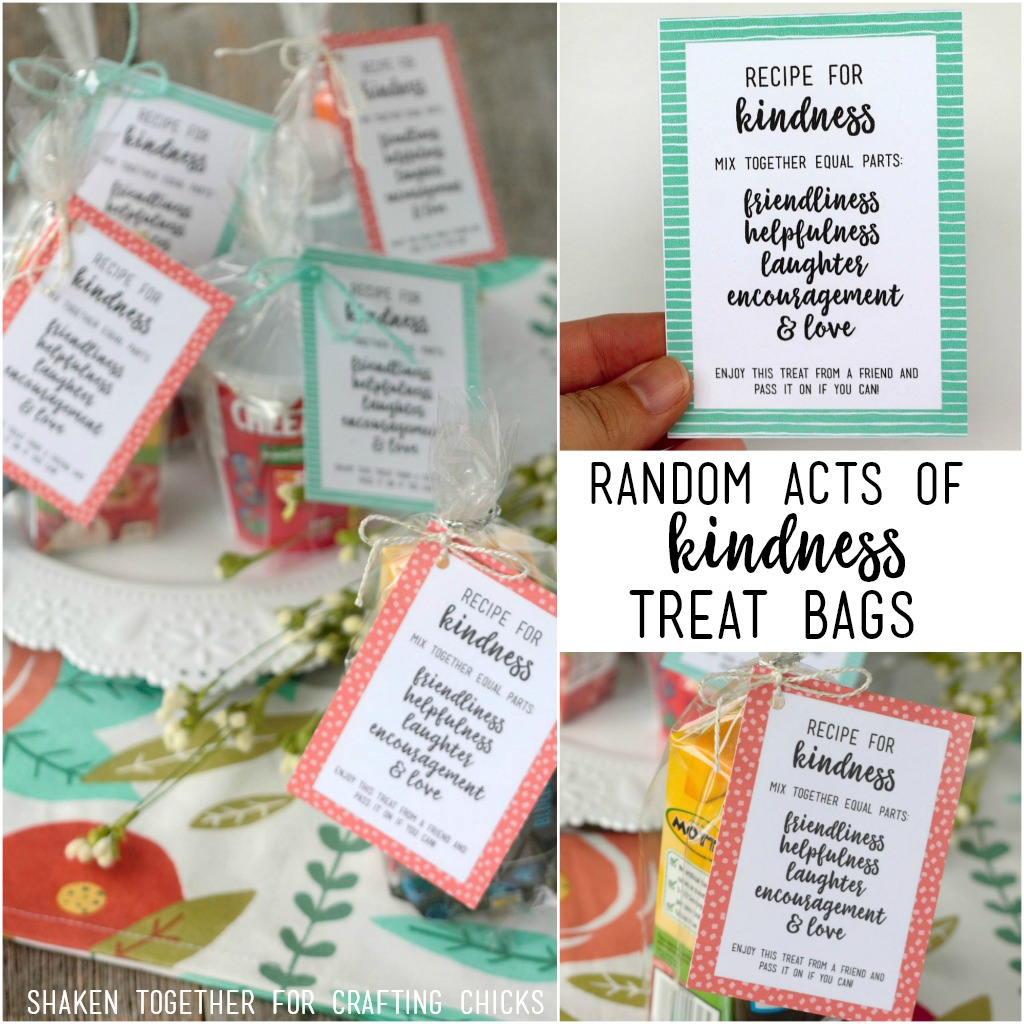 Encourage generosity and kindness in children with these Recipe for Kindness Random Acts of Kindness Treat Bags! Tons of ideas for bag fillers and printable tags, too!