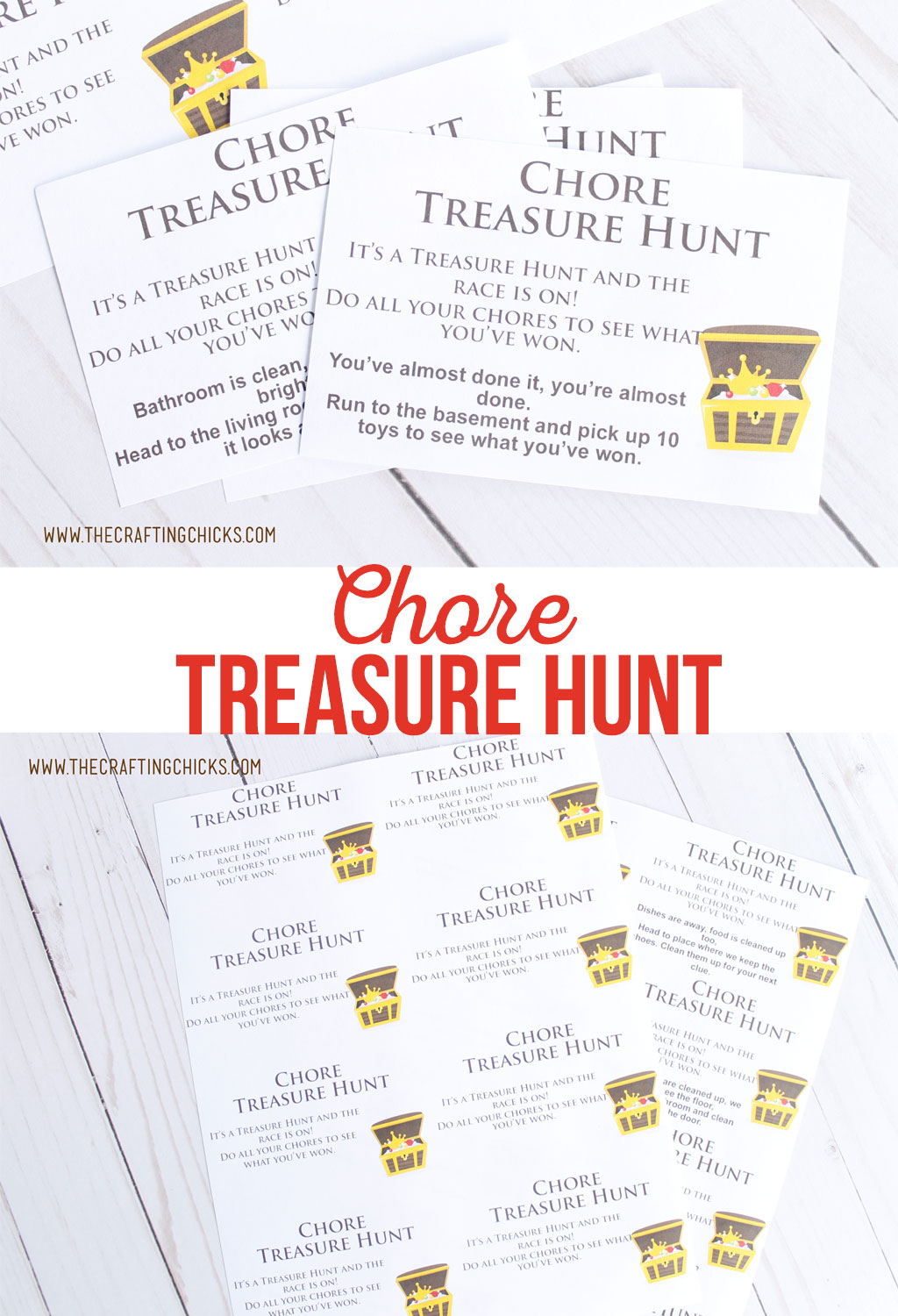 Printable Chore Treasure Hunt | Need a fun new way to motivate the kids to help clean? Try this Chore Treasure Hunt. Kids will be running around cleaning before you know it.