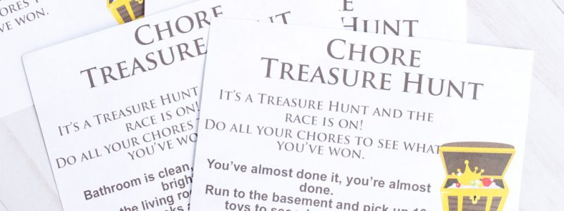 Need a fun new way to motivate the kids to help clean? Try this Chore Treasure Hunt. Kids will be running around cleaning before you know it.