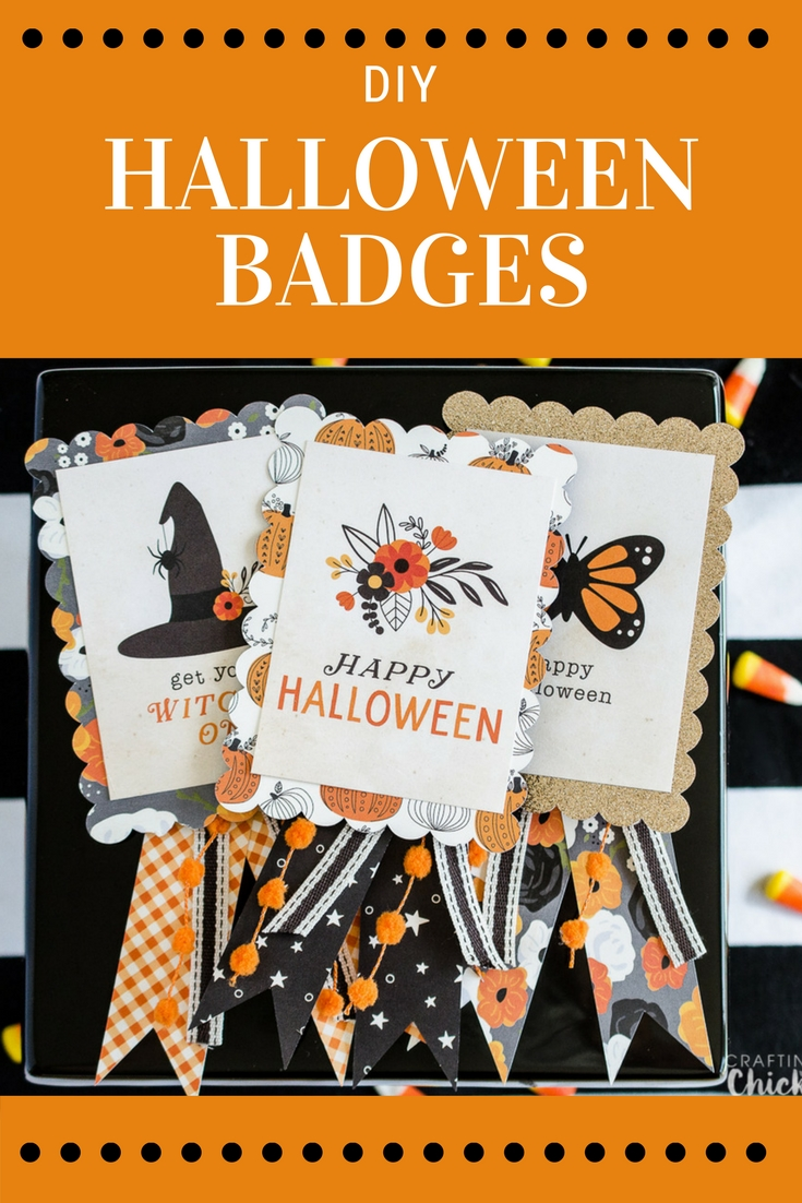 DIY Halloween Badges | These cute Halloween badges are the perfect way to still partake in all those fun Halloween activities without getting dressed up. These would be fun for work parties, volunteering at your children's school or any other time there is a call for costumes. #Halloween #DIY #Papercrafts